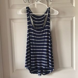 Blue and white striped flowy tank